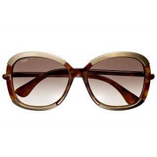 Tod's Brown Oversized Acetate Leather Sunglasses