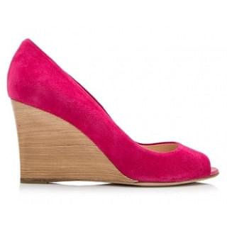 Tods Suede Leather Peep Toe Wedges