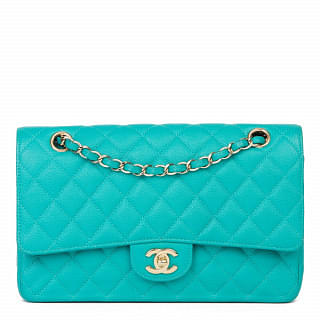 Chanel Classic Turquoise Quilted Caviar Leather Medium Double Flap Bag