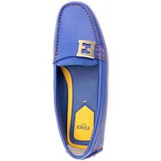 Fendi FF Detail Leather Women Loafers