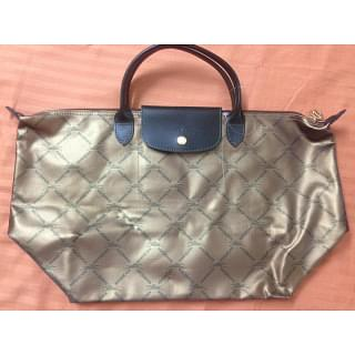 Longchamp Speciality Silver & Black Tote Bag