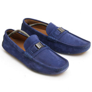 Versace Collection Blue Suede Driving Loafer