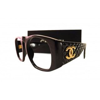Chanel Black Quilted Sunglasses Rectangular Gold CC Logo