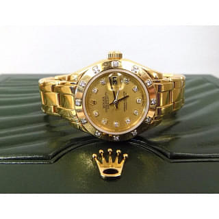 Rolex Pearlmaster Diamond Bezel 18k Yellow Gold Ladies Watch + 2 Years Rolex International Warranty