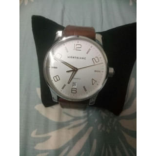 Montblanc Timewalker Automatic Silver Dial Brown Leather Mens Watch