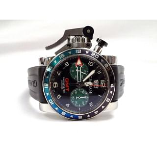 Chronofighter Oversize GMT Black Dial Black Rubber Men's Watch