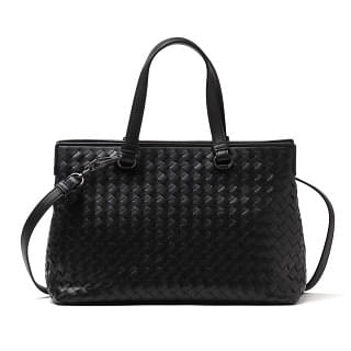 Bottega Veneta Nero Intrecciato Nappa Large Top Handle Bag