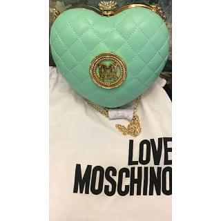 Moschino Quilted Heart Sling Clutch