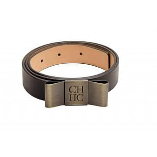 Carolina Herrera Black Leather Bow Belt