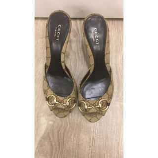 Gucci Monogram Horsebit Gold Sandal