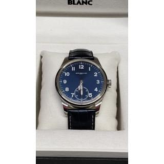 Montblanc 1858 Blue Dial Leather Strap Men's Watch
