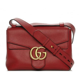 Gucci Red Leather Marmont Large Shoulder Bag