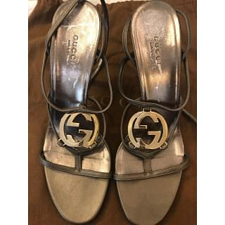 Gucci GG Cage Metallic Leather Heel Sandals