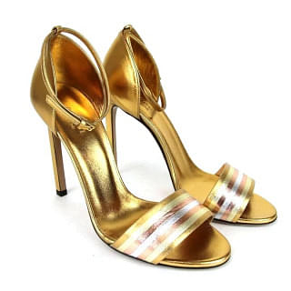 Gucci Gold Metallic 339834 Women's Leather Sandals