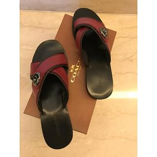 Coach Black and Cherry Twist Lock Sandal