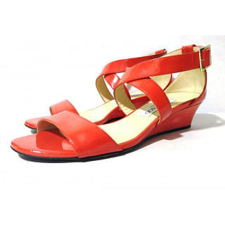 Jimmy Choo Red Chiara Strappy Patent Wedge Sandals