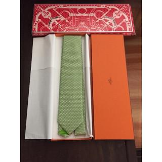 Hermes Dotted Print Light Green Tie