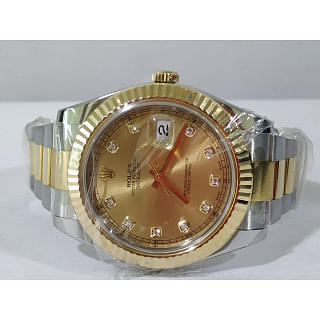 Rolex Mens Datejust II Oyster 116333 18k Two Tone 41mm Champagne Diamond Dial