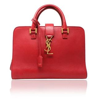 Saint Laurent Monogram Downtown Cabas Red Bag