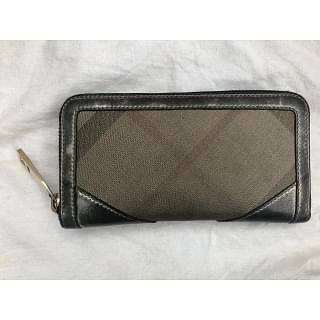 Burberry Check Canvas Zip Continental Wallet