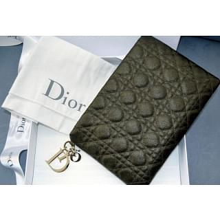 Dior Quilted Panarea Coated Canvas Large Clutch