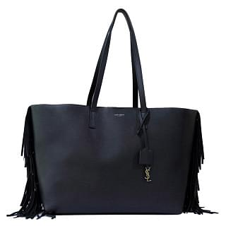 Saint Laurent Fringed Black Leather Shopping Tote