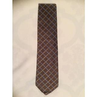 Etro Silk Brown Check Pattern Tie