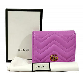Gucci Pink Quilted Leather GG Marmont Card Case