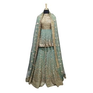 Sabyasachi Full Sleeves Mint Green Lehenga