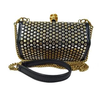 Alexander McQueen Black Hexagon Studded Box Clutch