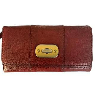 Burberry Red Leather Women Wallet