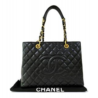 Chanel GST Black Caviar Quilted Grand Shopping Tote
