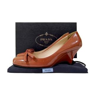 Prada Patent Leather Bow Pumps