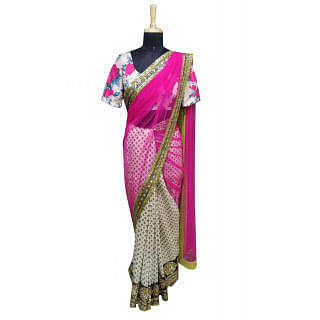Sabyasachi White and Pink saree with printed blouse