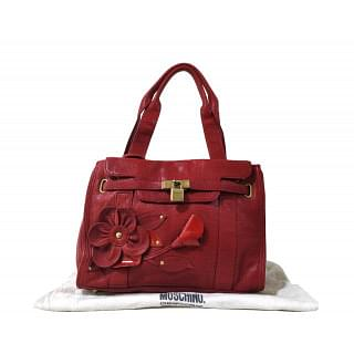 Moschino Cheap and Chic Red Leather Flower Satchel