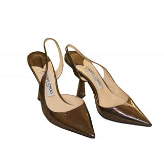 Jimmy Choo Fetto 100 Rust Metallic Lizard Print Pointed Toe pumps
