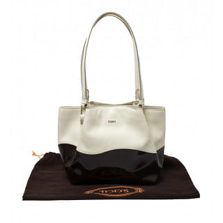 Tods Flower White and Brown Patent Leather Medium Tote