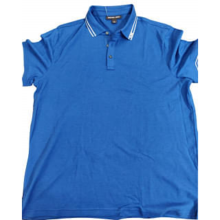 Michael Kors Blue White Tipped Collar Polo Shirt