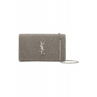 Saint Laurent Metallic Canvas Clutch