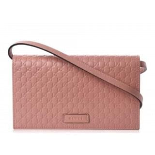 Gucci Micro Guccissima Pink Leather Convertible Crossbody Wallet