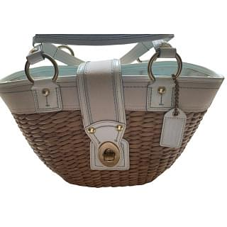 Coach Woven Straw Basket Bag