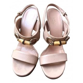 Gucci Beige Leather Bamboo Horsebit Slingback Sandals