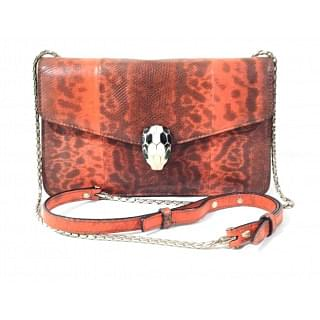 Bvlgari Red Serpenti Forever Snake-Embossed Shoulder Bag
