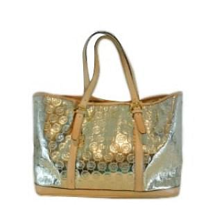 Michael Kors Signature Gold Mirror Metallic Strap Tote