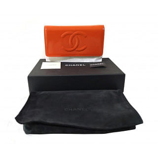 Chanel Patent Caviar Timeless Orange Wallet On Chain WOC