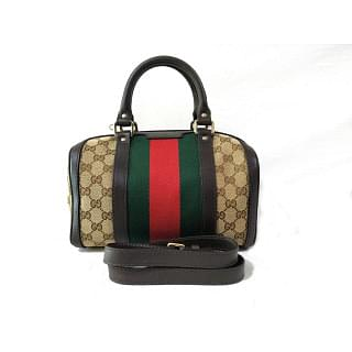 Gucci Web GG Small Vintage Boston Bag