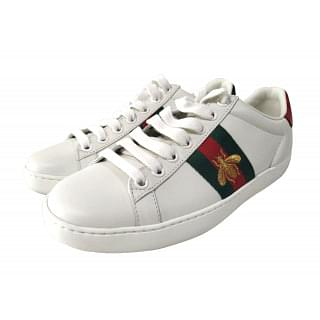 Gucci Web Embroidered Bee Ace Leather Sneaker