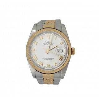 Rolex Datejust 16233 18K Gold White Roman Dial Watch
