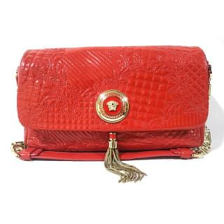 Versace Vanitas Quilted Red Shoulder Bag