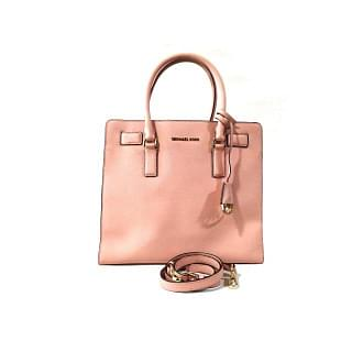 Michael Kors Dillon Saffiano-Leather Pink Satchel